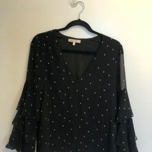 Moon Print Black Long Sleeve Blouse